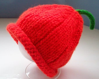Baby's pumpkin hat knit fun bright orange