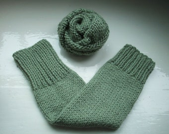 Chunky warm leg warmers wool warm sage green