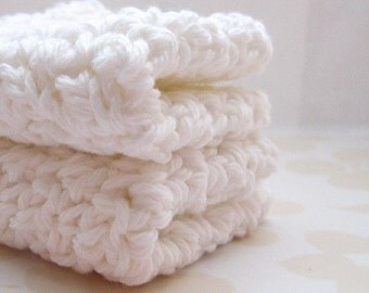 White Crochet Washcloths, Cotton Face Cloths, Face Cleansing Cloths, Exfoliating Washcloths, Eco Friendly Bathing Accessories