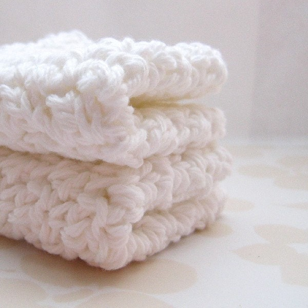Washcloths Crochet: White Crochet Washcloths Cotton Face Cloths Face Cleansing