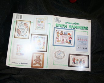 Vintage Baby Birth Samplers Counted Cross Stitch Patterns Booklet SEWBUSY12