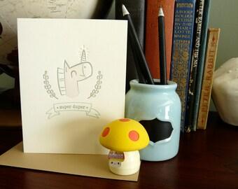 Super Duper Unicorn Letterpress Card