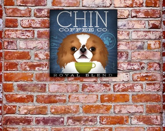 Japanese Red Chin Coffee company dog coffee original graphic illustration on gallery wrapped canvas by Stephen Fowler