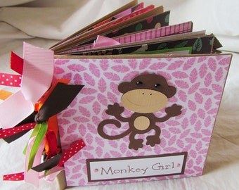 MONKEY GIRL premade scrapbook PaPeR BaG ALbUm