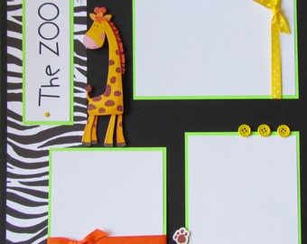 ZOO 12x12 Premade Scrapbook Pages - KiD BoY GiRL
