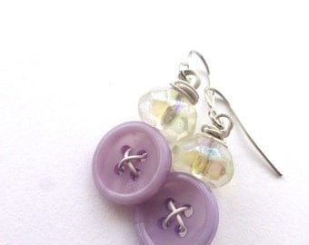 Lavender and White Vintage Button Dangle Earrings