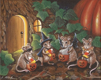 A VERY SPECIAL TREAT - 8 x 10 Print of Original Acrylic Halloween Mouse Painting by Carolee Clark