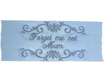 Jennifer  Satin Ribbon Embroidered Personalized Wedding Gown Label - Bridal Blue