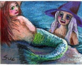 original aceo drawing witch and mermaid