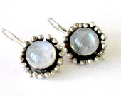Rainbow Moonstone Silver Earrings, Jewelry for Women, Moonstone Cabochon Dangle Earrings,