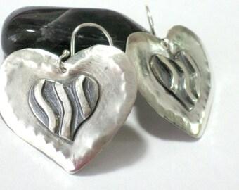 Dangle Heart Earrings, Silver Heart Earring, Silver Drop Earrings, Heart Dangles, Two Hearts, Modern Earrings, Love Earrings, Solid Silver