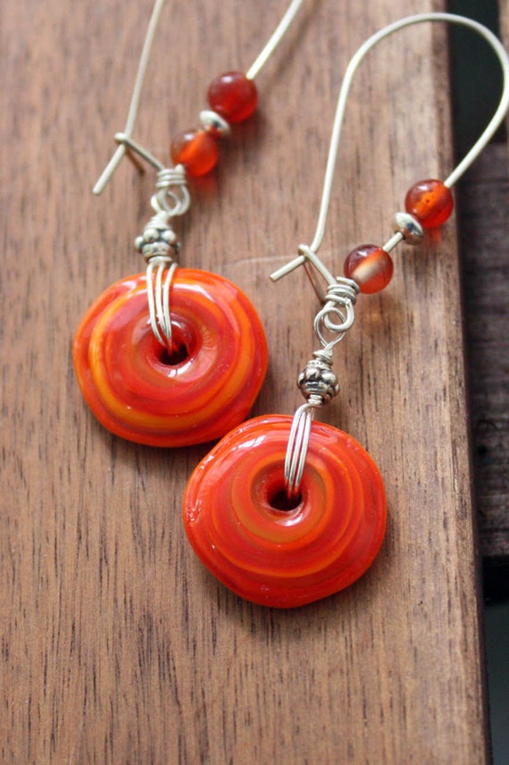Pumpkin Spice Lamp Work Glass Handmade Sterling Earrings