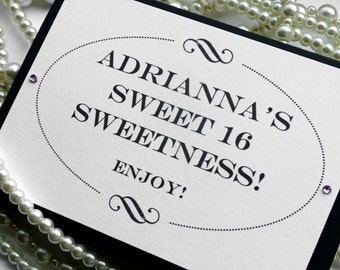 Candy Buffet Sign - Black and White Birthday sign TENTED - Handmade in the UK