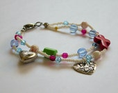 Child/Teen size double strand bracelet with cross & hearts