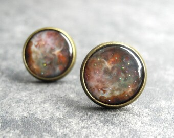 Space Stud Earrings, Astronomy Jewelry Gifts, Galaxy Jewelry, Nebula Earring Studs, Glitter Earrings, Rustic Copper Brown Jewelry (E034)