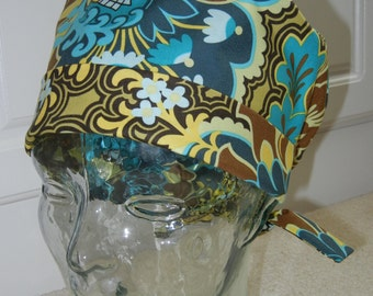 Tie Back Surgical Scrub Hat with Gothic Rose Turquoise