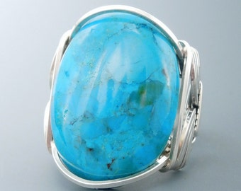 Large Chinese Turquoise Sterling Silver Wire Wrapped Ring