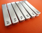 Set of 6 Personalized Tie Bars - Initials - Custom stamped tie clips