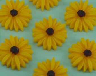 6 Yellow Flower Daisy Cabochons Flat Back 26mm
