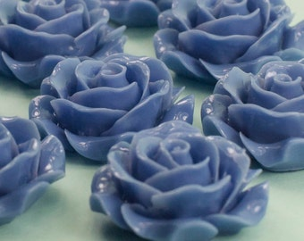 18 Blue Rose Flower Cabochons Flat Back 28mm