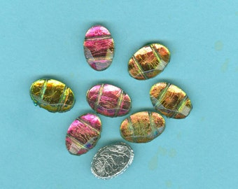 Northern Lights Color Changing Vintage Glass Flatback Beads Sewons Sew Ons 10 In Lot