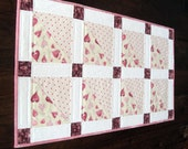 Valentine's Day table runner in pinks with hearts, 28 x 15