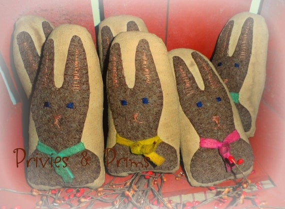 Primitive Bunny Rabbit Eggs  - Easter wool handstitched
