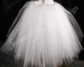 White Glimmer tulle skirt tutu floor length petticoat two layer dance formal wedding bridal prom gypsy -You Choose Size- Sisters of the Moon