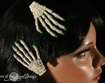 Skeleton hands hair clips with painted green nails pair halloween costume barrette -- Sisters of the Moon