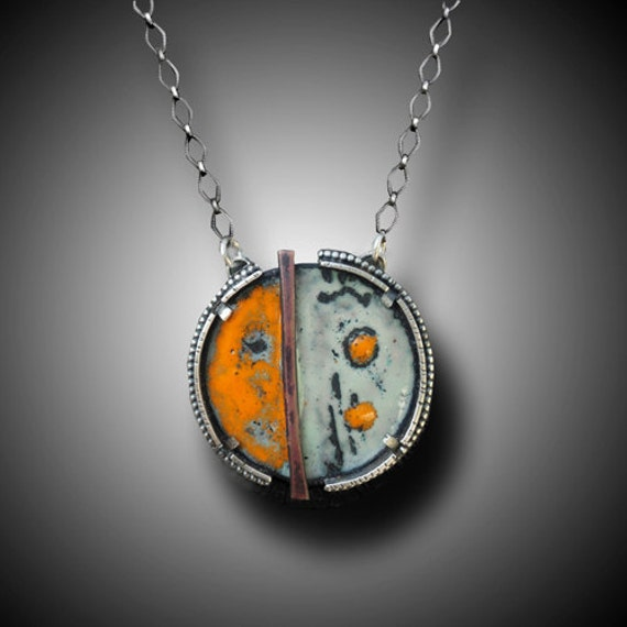 Hand Crafted Enamel House Necklace Pendant Copper Home: Abstract Enamel Necklace Sterling Silver Necklace With
