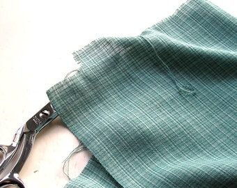 """Sage Mint Fabric, Cotton Yardage, Green Fabric, Light Cotton, Loose Weave, Cotton or Rayon, 1970s light Weight 34"""" X 39""""."""