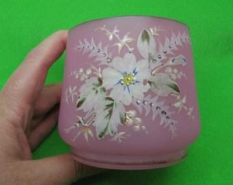 Further Reduced Vintage Pink Bristol Glass Short Vase