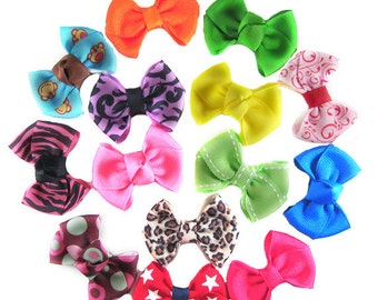 8 SMALL Hair Bow Clips - Choose any 8 from over 100 Ribbons -  Super Cute