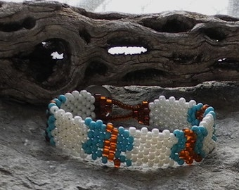 Free Form Peyote Stitch Beaded Bracelet  - Bead Weaving - Peace Bracelet - White Turquoise Amber