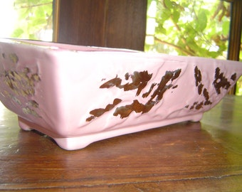 Mid Century Vintage Pink and Gold Ceramic Candy Dish/Planter Signed Frank's USA 1959