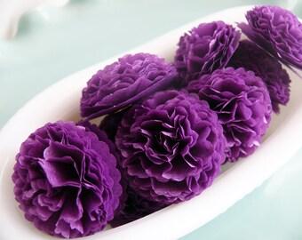Button Mums Tissue Paper Flowers 1 inch Grape Soda Purple Wedding, Bridal Shower, Baby Shower Decor