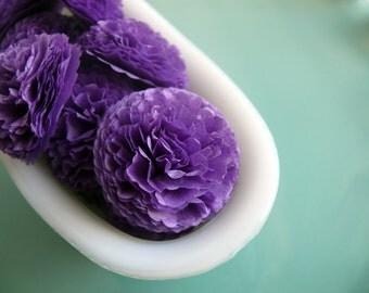 Button Mums Tissue Paper Flowers 1 inch Purple Wedding, Bridal Shower, Baby Shower Decor