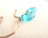 Rose Gold Earrings Aqua Turquoise Swarovski dangles Vitrine Gift for her Under 30 Spring Bright blue