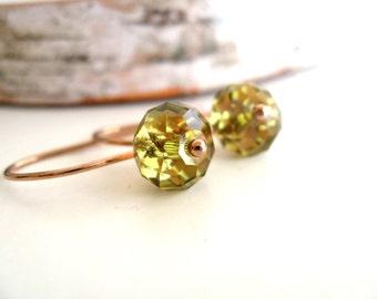 Moss green Earrings Swarovski Woodland Rose gold drops Gift for her Under 30 Vitrine