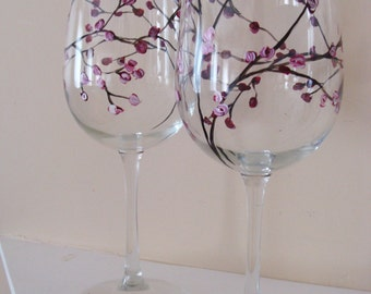 Rosebuds Wine Glasses Hand Painted