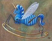 Original Illustration Rocking Unicorn Fly wonderland insect