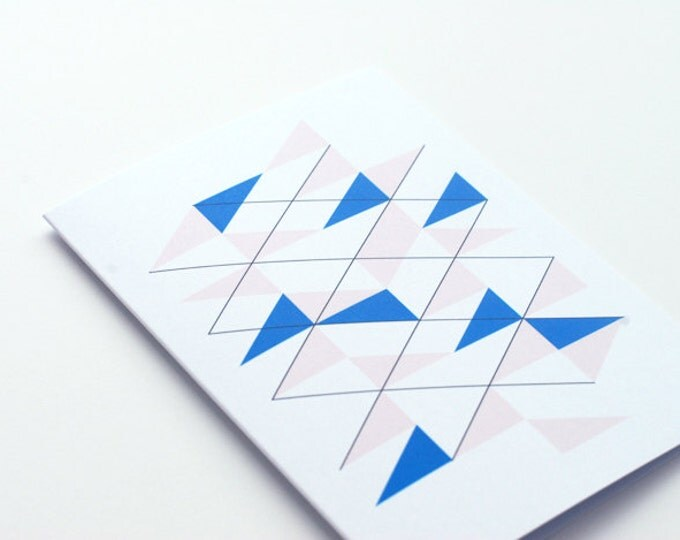 peach blue geo notecards