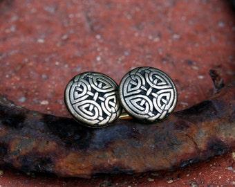 Cufflinks - Celtic Eternal Knot, Antique Gold Finish