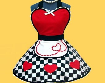 "Apron - Women's Apron ""Queen of Sweet Hearts"" Costume Apron Womens Apron 50s retro diner apron MADE TO ORDER"