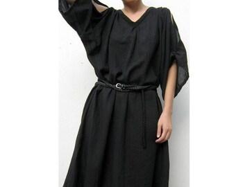 Custom Made Black cotton Boho v neck short Loose Tunic Dress  S-L (H)
