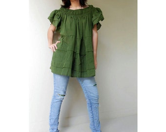 Custom Made Boho Baby doll green cotton smock  around neck baby doll women  blouse  S - L (H)