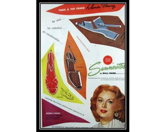 Rhonda Fleming Summerettes Shoes Vintage Advertising Wall Art Decor E115