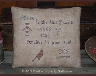 1805 Hope Robin Primitive Motif Pillow Cross Stitch E-Pattern