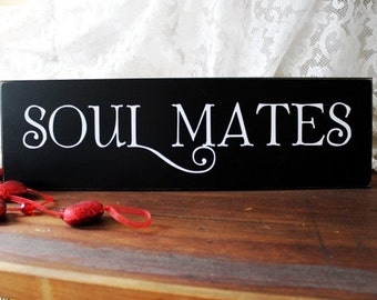 Soul Mates Wood Sign Wedding Romantic Valentine Love Wall Decor