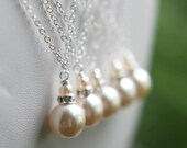 Bridesmaids Gift Jewelry Ivory Pearl Drop Necklaces Bridal Party Gift Chloe Necklace FREE U.S.Shipping Pearl Drop necklace